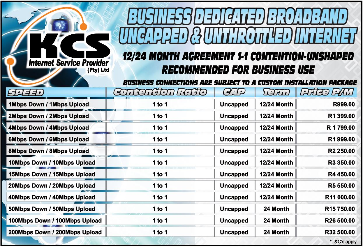 Business Dedicated Broadband uncapped and unthrottled
